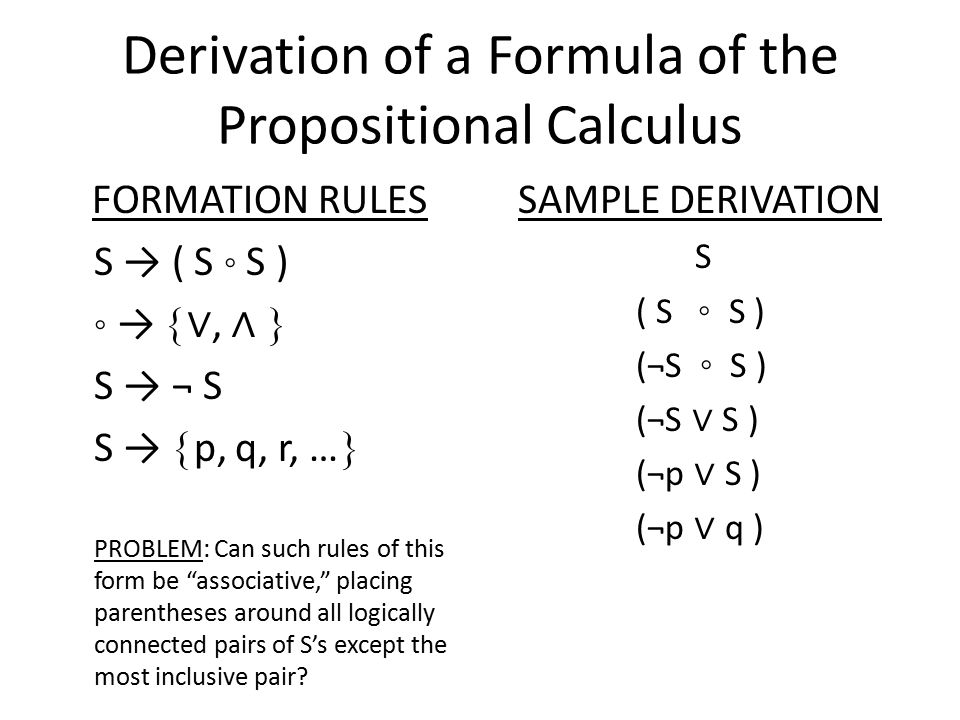 Derivation of a Formula of the Propositional Calculus FORMATION RULES S → ( S ◦ S ) ◦ →  ∨, ∧  S → ¬ S S →  p, q, r, …  PROBLEM: Can such rules of this form be associative, placing parentheses around all logically connected pairs of S's except the most inclusive pair.