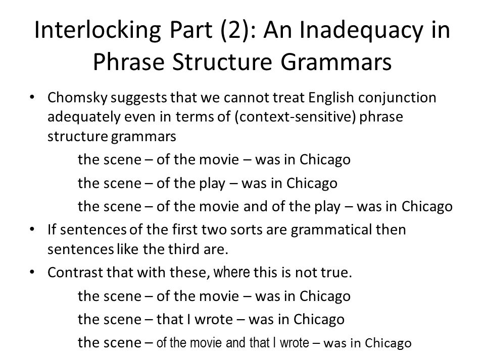 Interlocking Part (2): An Inadequacy in Phrase Structure Grammars Chomsky suggests that we cannot treat English conjunction adequately even in terms of (context-sensitive) phrase structure grammars the scene – of the movie – was in Chicago the scene – of the play – was in Chicago the scene – of the movie and of the play – was in Chicago If sentences of the first two sorts are grammatical then sentences like the third are.