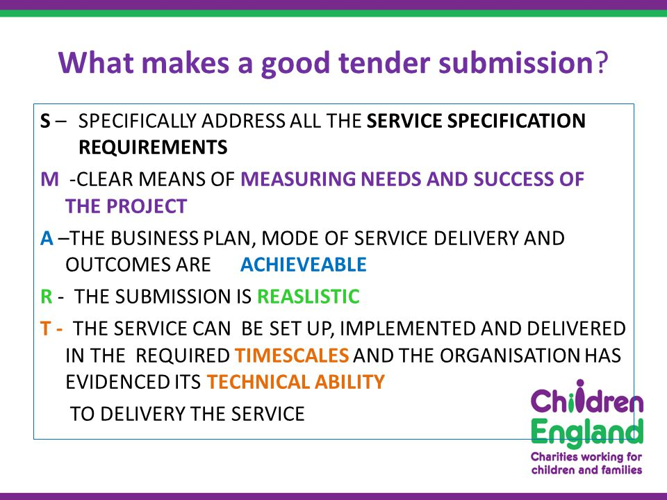 What makes a good tender submission.