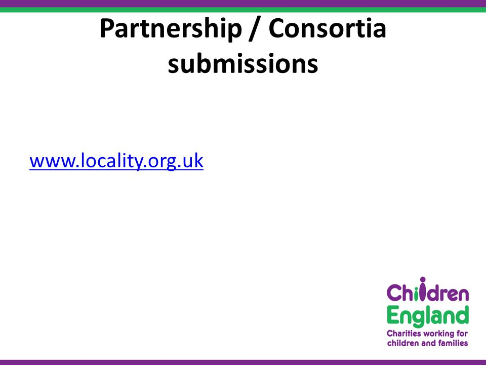 Partnership / Consortia submissions