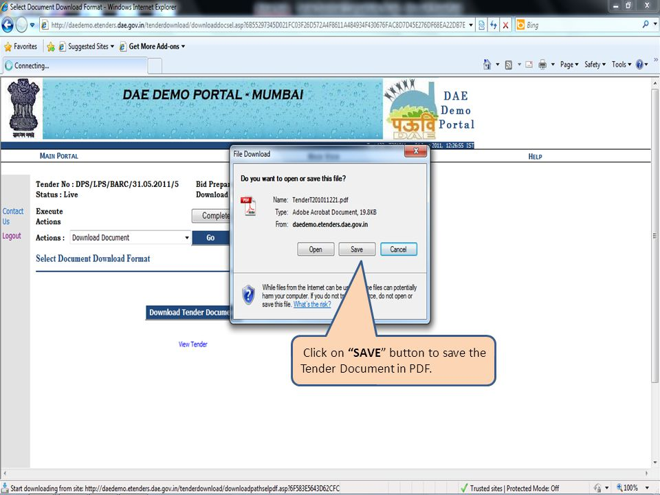 Click on SAVE button to save the Tender Document in PDF.