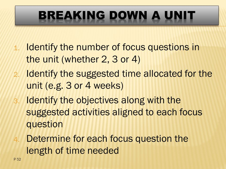 1. Identify the number of focus questions in the unit (whether 2, 3 or 4) 2.