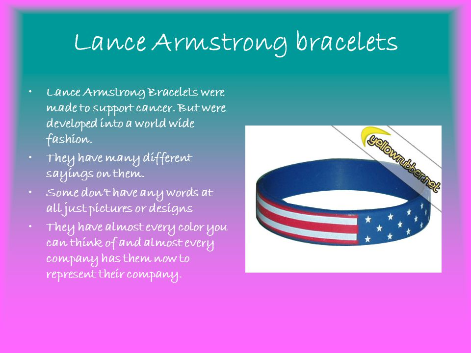 Link Bracelets Are A Way To Represent Yourself And Things You Like 5 Lance Armstrong