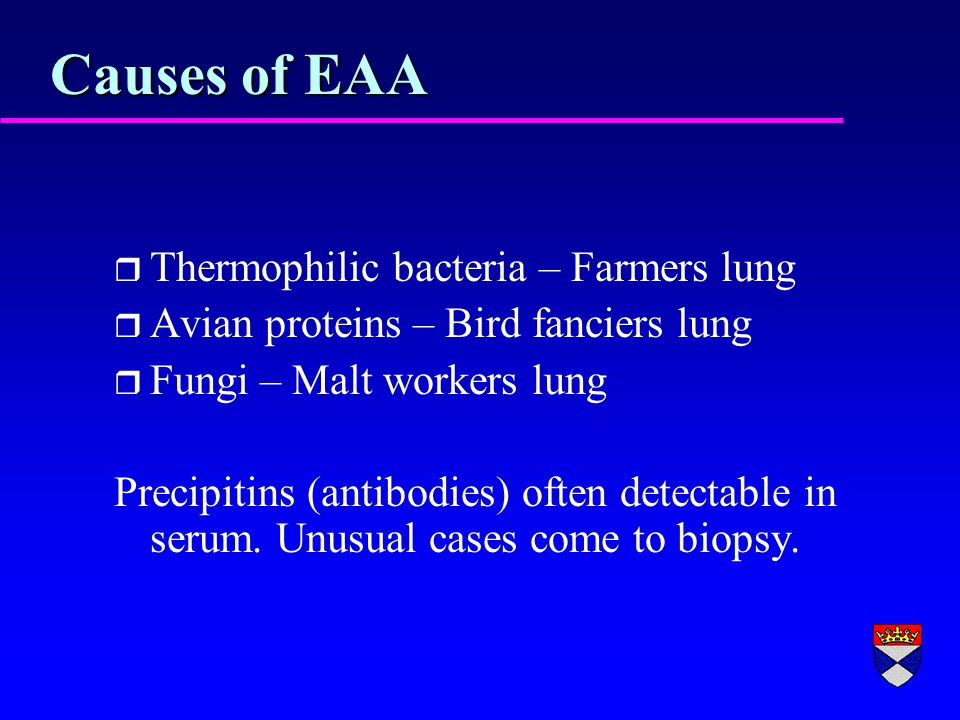 Causes of EAA r Thermophilic bacteria – Farmers lung r Avian proteins – Bird fanciers lung r Fungi – Malt workers lung Precipitins (antibodies) often detectable in serum.