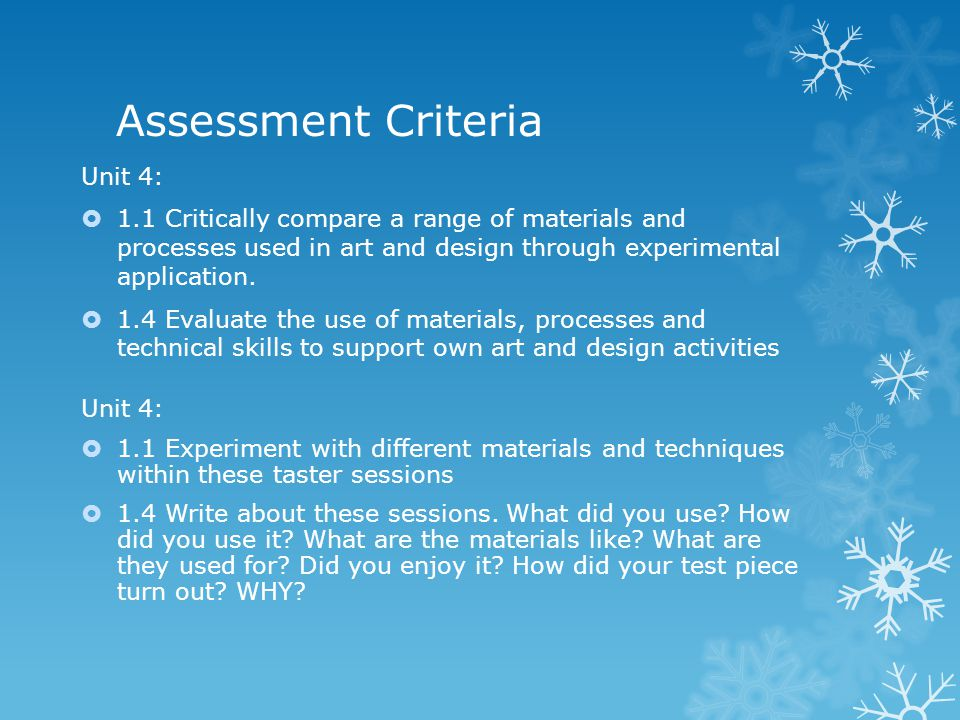 Unit 4 – Introduction to materials, processes and technical skills ...