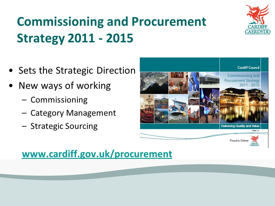 Commissioning and Procurement Strategy Sets the Strategic Direction New ways of working –Commissioning –Category Management –Strategic Sourcing