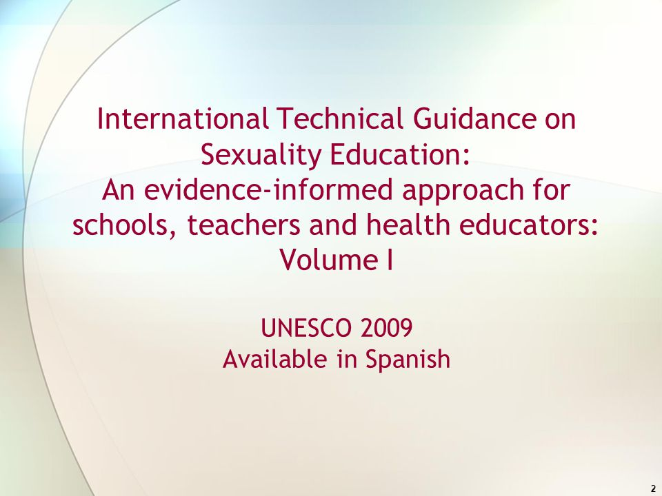 International technical guidance on sexuality education volume 2