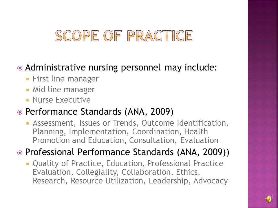  Design, manage, and facilitate excellent patient care delivery (ANA, 2009)  Key Principles:  Establishing care delivery goals  Being a champion for patient outcome measures  Advocating for nursing  Being mindful of resource allocation  Partnering with others  Utilizing evidence based data  Promoting safety and quality  Mentoring workforce  Embracing cultural diversity  Upholding code of ethics