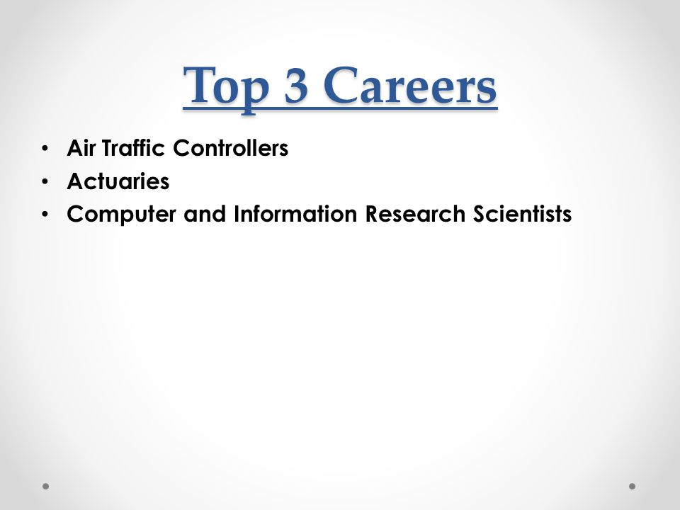 Top 3 Careers Air Traffic Controllers Actuaries Computer and Information Research Scientists