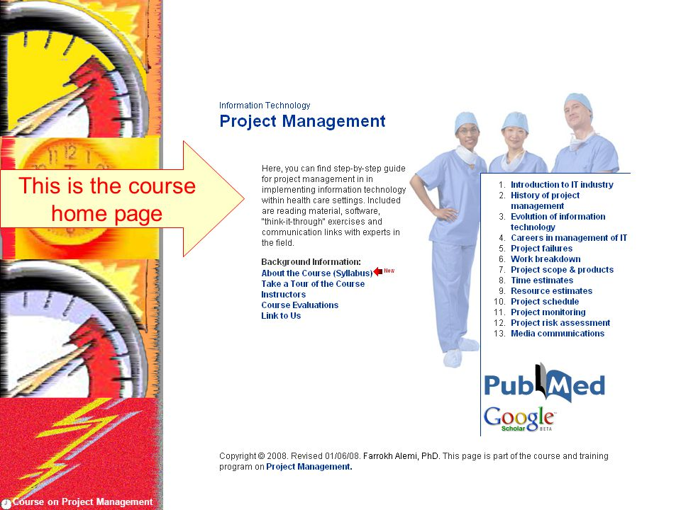 Course on Project Management This is the course home page