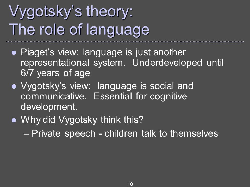 10 Vygotsky's theory: The role of language Piaget's view: language is just another representational system.
