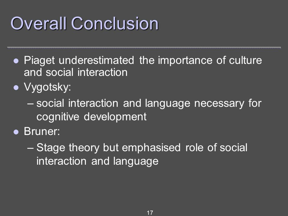 17 Overall Conclusion Piaget underestimated the importance of culture and social interaction Vygotsky: –social interaction and language necessary for cognitive development Bruner: –Stage theory but emphasised role of social interaction and language
