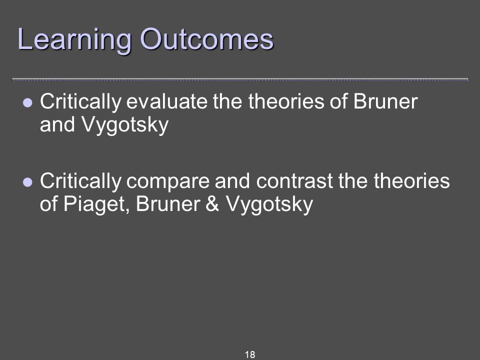 18 Learning Outcomes Critically evaluate the theories of Bruner and Vygotsky Critically compare and contrast the theories of Piaget, Bruner & Vygotsky