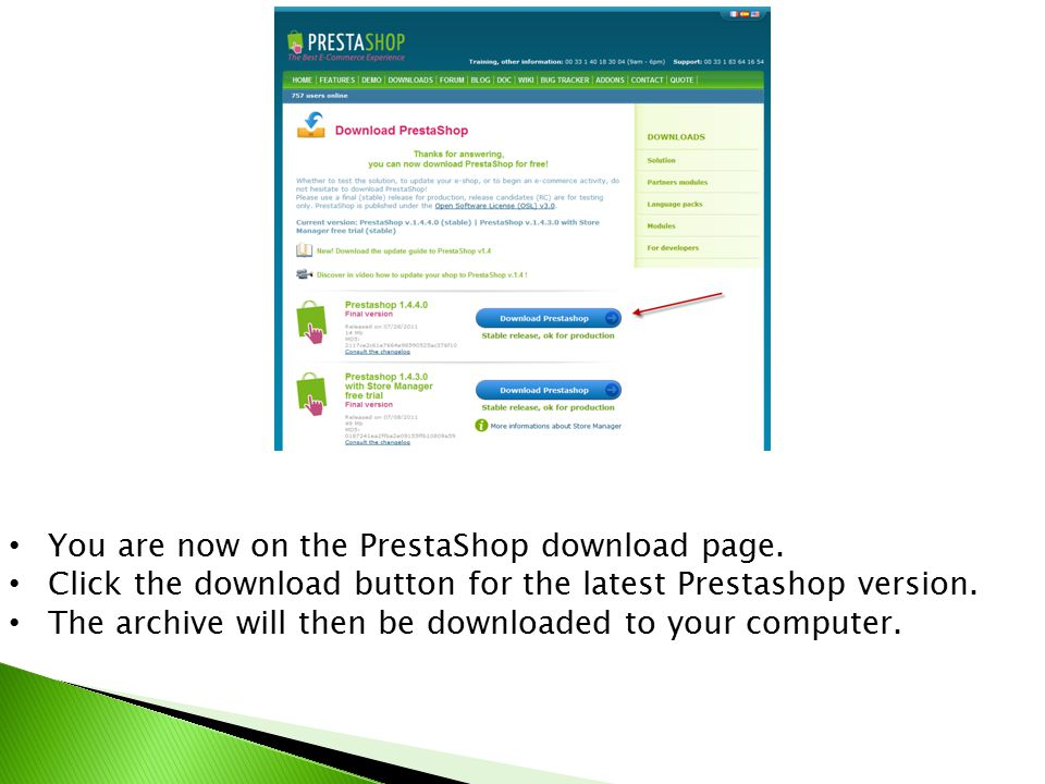 You are now on the PrestaShop download page.