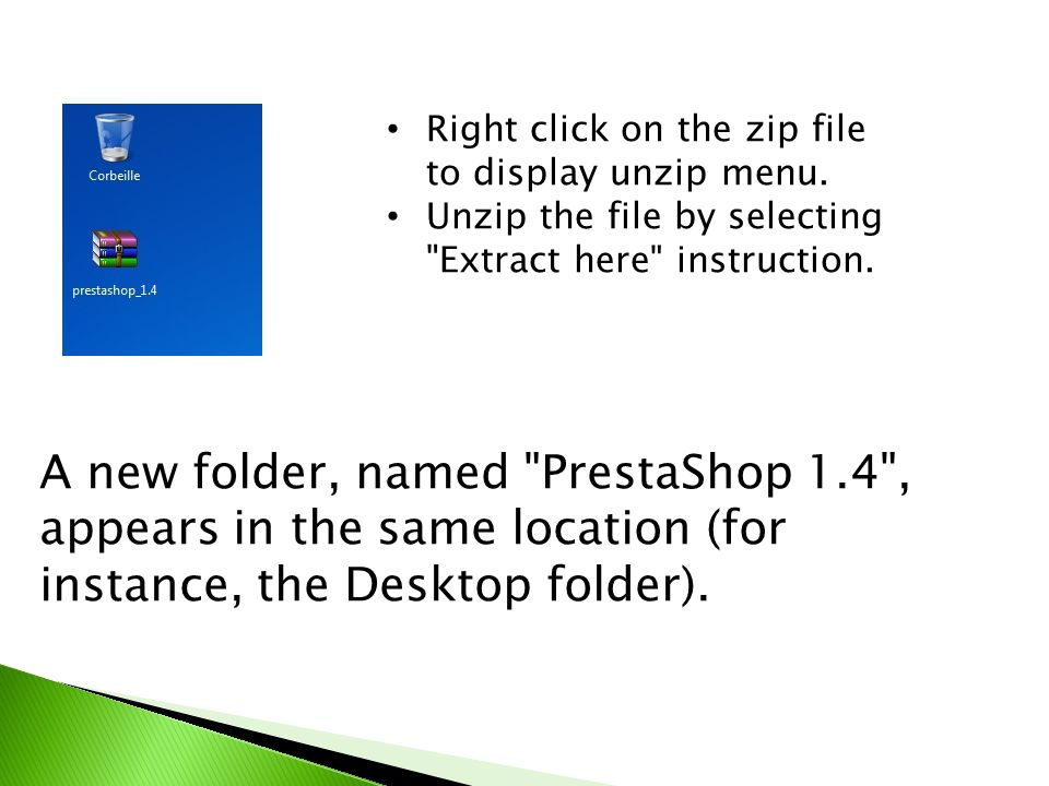 Right click on the zip file to display unzip menu.