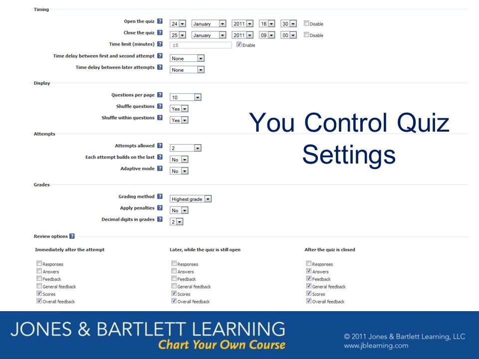 You Control Quiz Settings