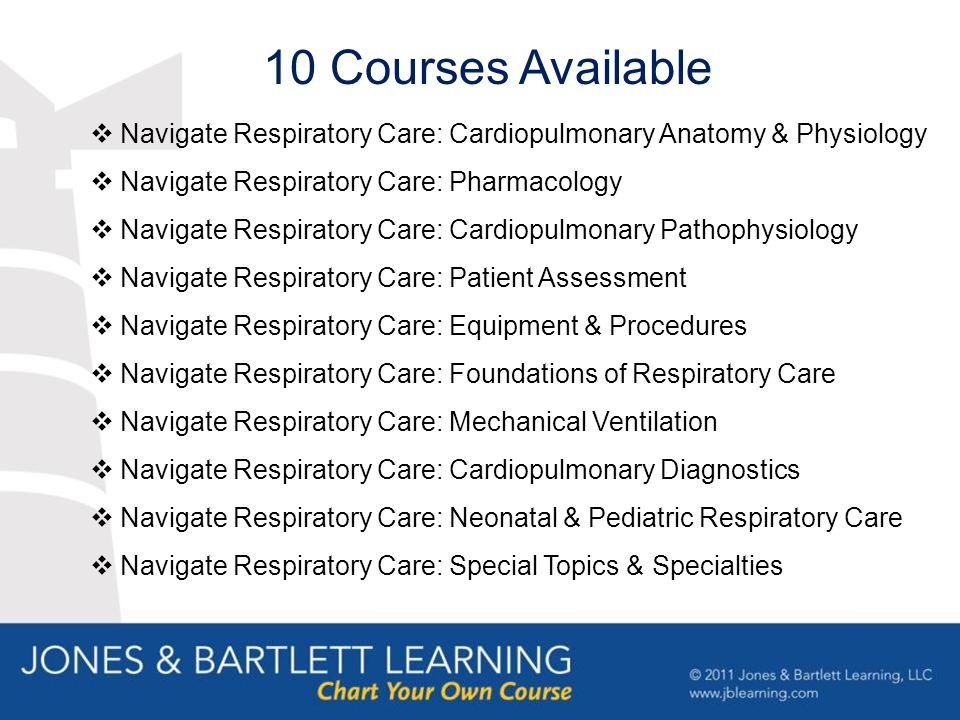 Navigate Respiratory Care: Cardiopulmonary Anatomy & Physiology  Navigate Respiratory Care: Pharmacology  Navigate Respiratory Care: Cardiopulmonary Pathophysiology  Navigate Respiratory Care: Patient Assessment  Navigate Respiratory Care: Equipment & Procedures  Navigate Respiratory Care: Foundations of Respiratory Care  Navigate Respiratory Care: Mechanical Ventilation  Navigate Respiratory Care: Cardiopulmonary Diagnostics  Navigate Respiratory Care: Neonatal & Pediatric Respiratory Care  Navigate Respiratory Care: Special Topics & Specialties 10 Courses Available