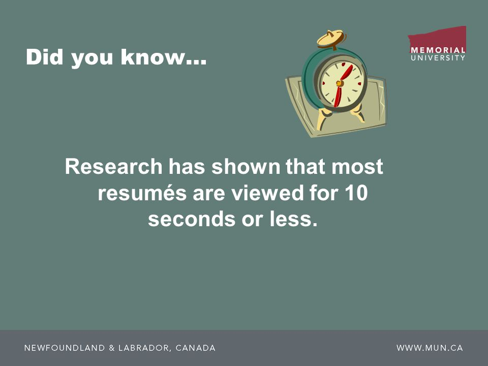 Did you know… Research has shown that most resumés are viewed for 10 seconds or less.