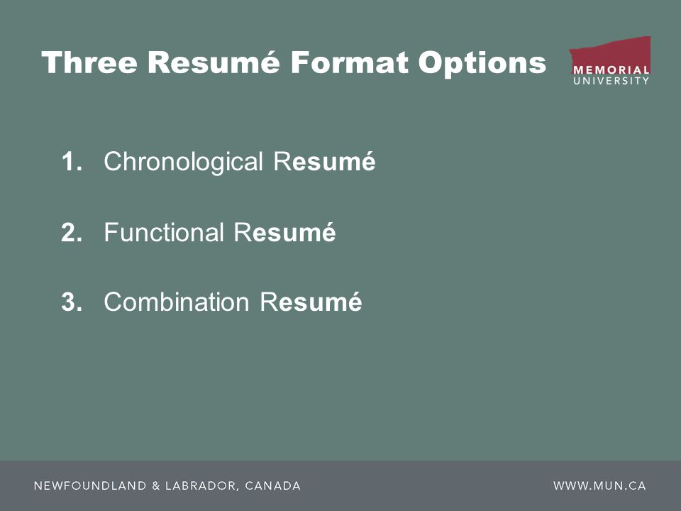 1.Chronological Resumé 2.Functional Resumé 3.Combination Resumé Three Resumé Format Options