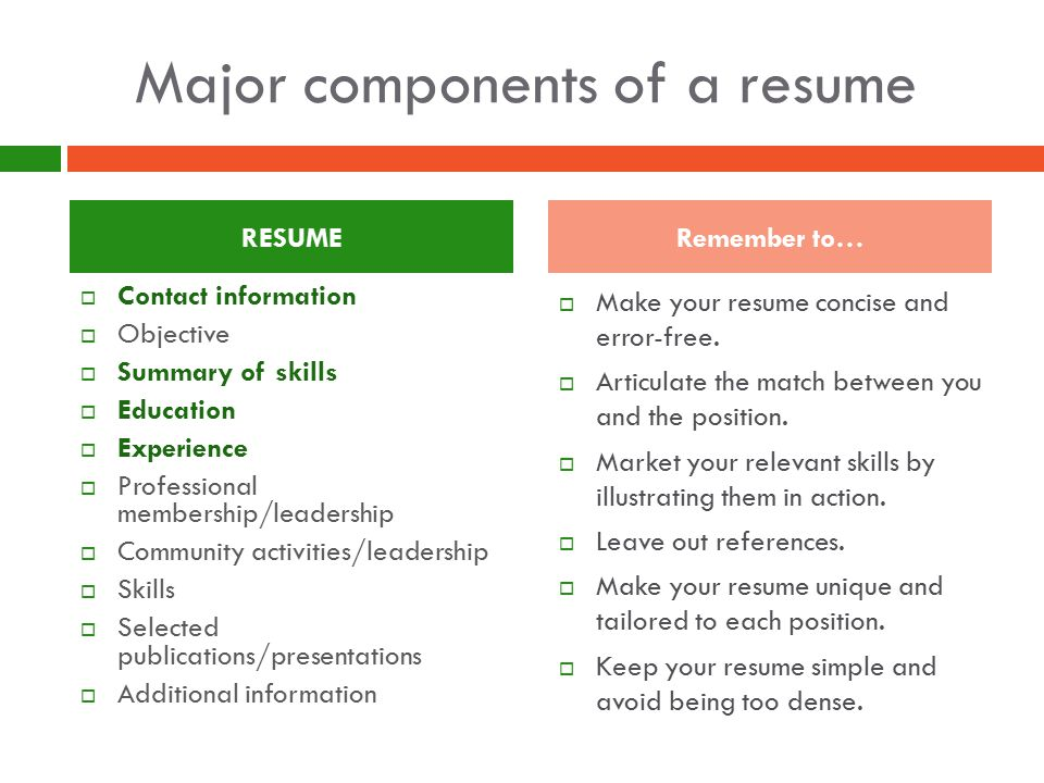 Major components of a resume  Make your resume concise and error-free.
