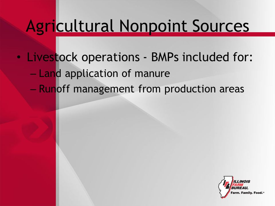 Agricultural Nonpoint Sources Livestock operations - BMPs included for: – Land application of manure – Runoff management from production areas