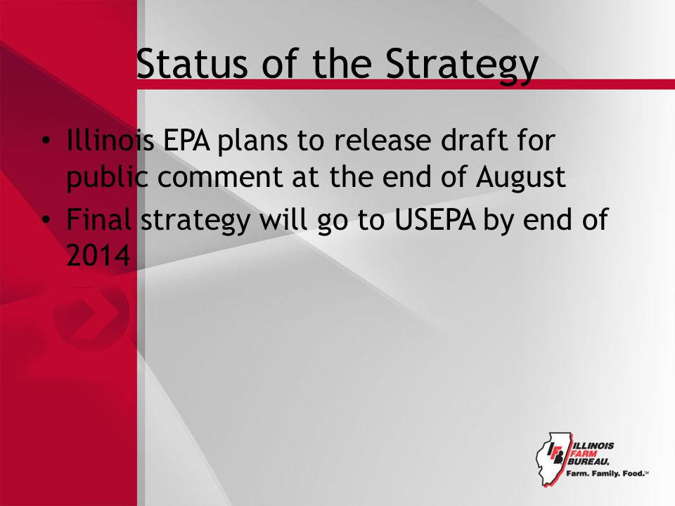Status of the Strategy Illinois EPA plans to release draft for public comment at the end of August Final strategy will go to USEPA by end of 2014