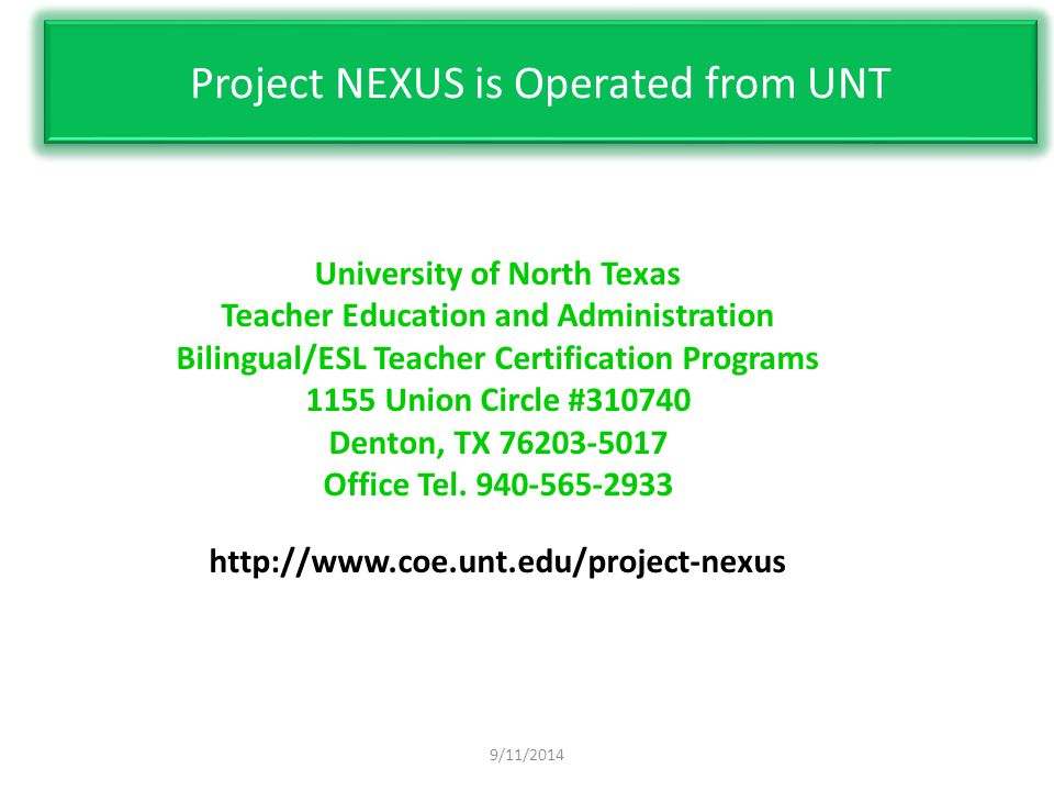 9/11/2014. university of north texas teacher education and ...