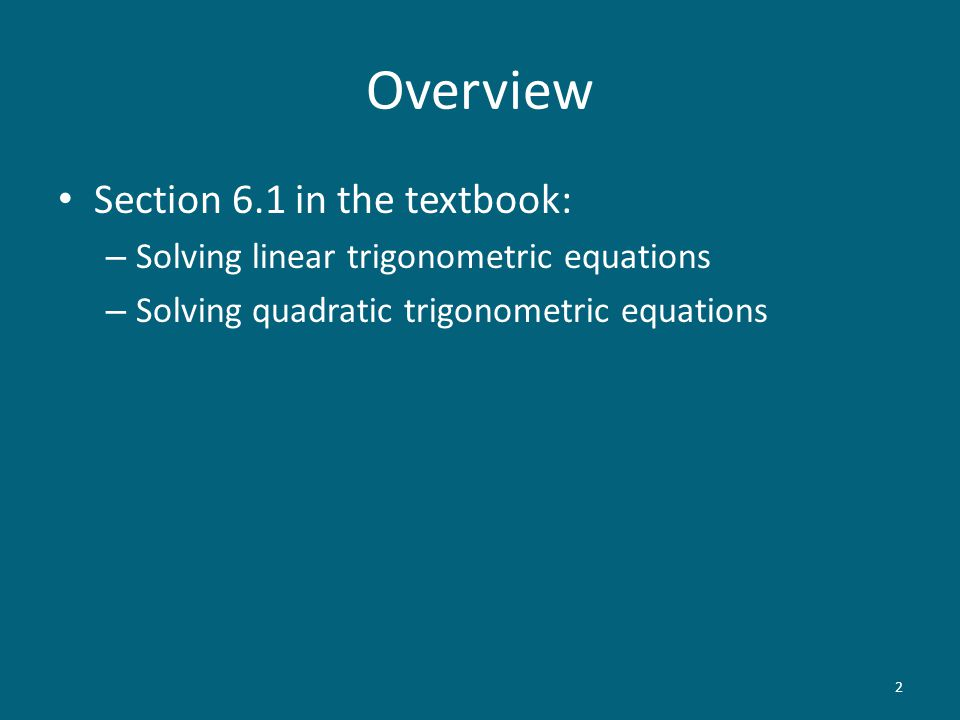 Solving Trigonometric Equations Trigonometry MATH 103 S. Rook. - ppt ...