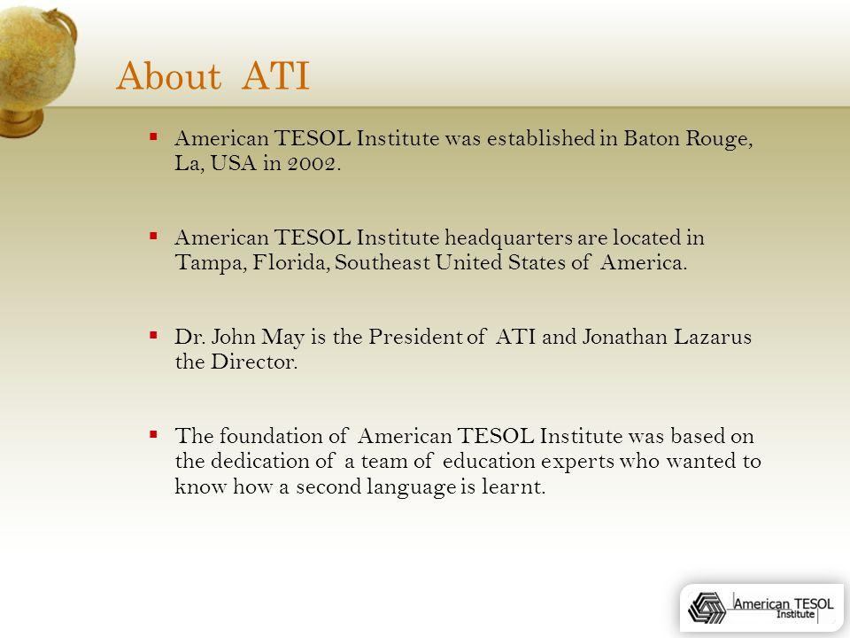 American TESOL Institute About ATI  American TESOL