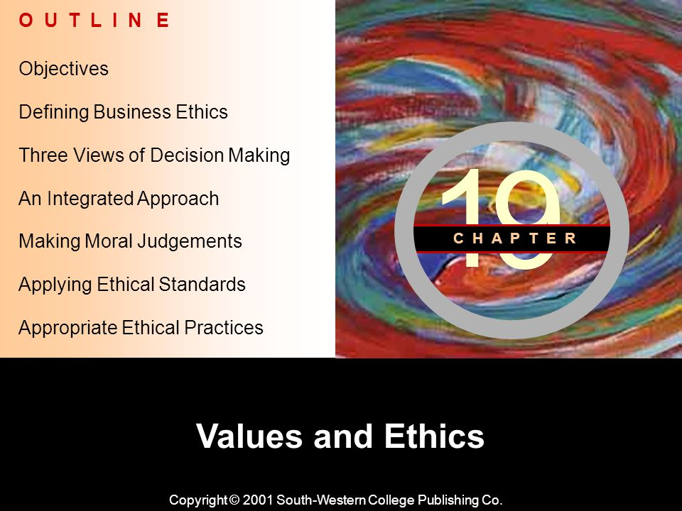 Learning Objective Chapter 19 Values and Ethics Copyright © 2001 South-Western College Publishing Co.