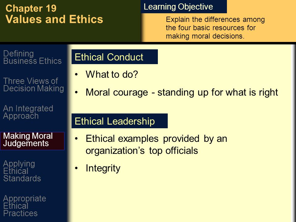 Learning Objective Chapter 19 Values and Ethics Defining Business Ethics An Integrated Approach Three Views of Decision Making Making Moral Judgements Applying Ethical Standards Appropriate Ethical Practices What to do.