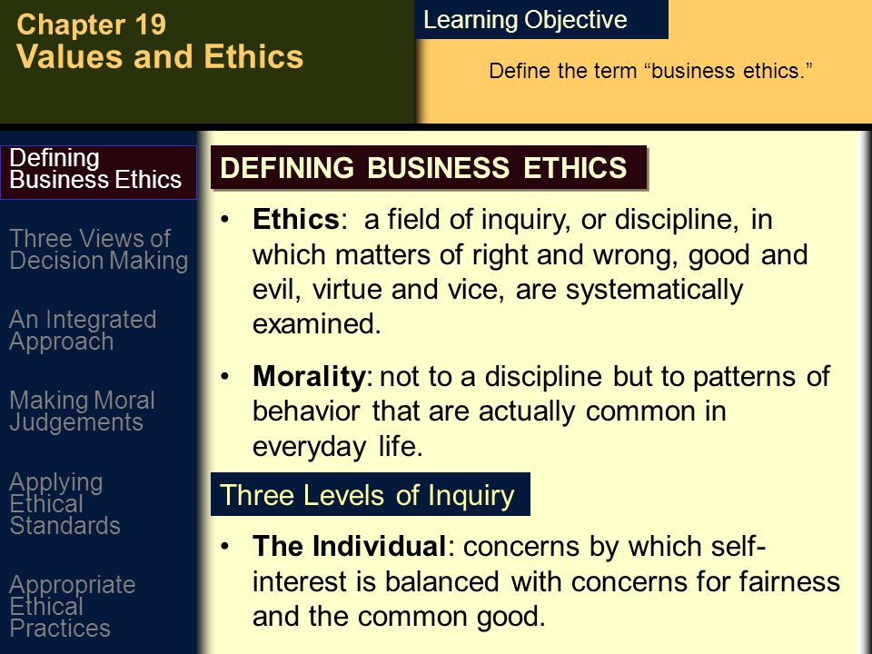 Learning Objective Chapter 19 Values and Ethics DEFINING BUSINESS ETHICS Define the term business ethics. Ethics: a field of inquiry, or discipline, in which matters of right and wrong, good and evil, virtue and vice, are systematically examined.