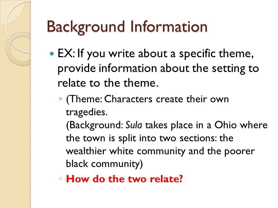 what is background information in an essay