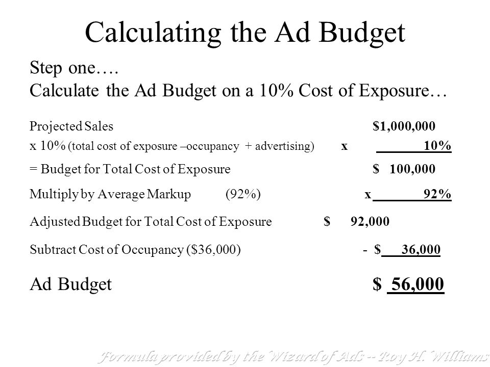how to calculate the ad budget calculating the ad budget ppt