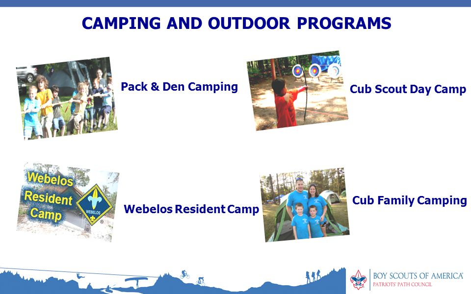 CAMPING AND OUTDOOR PROGRAMS Pack & Den Camping Webelos Resident Camp Cub Scout Day Camp Cub Family Camping