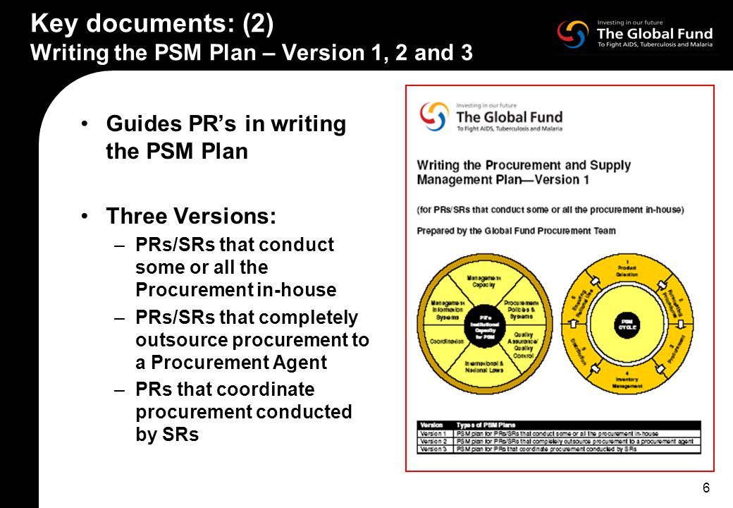 6 Key documents: (2) Writing the PSM Plan – Version 1, 2 and 3 Guides PR's in writing the PSM Plan Three Versions: –PRs/SRs that conduct some or all the Procurement in-house –PRs/SRs that completely outsource procurement to a Procurement Agent –PRs that coordinate procurement conducted by SRs