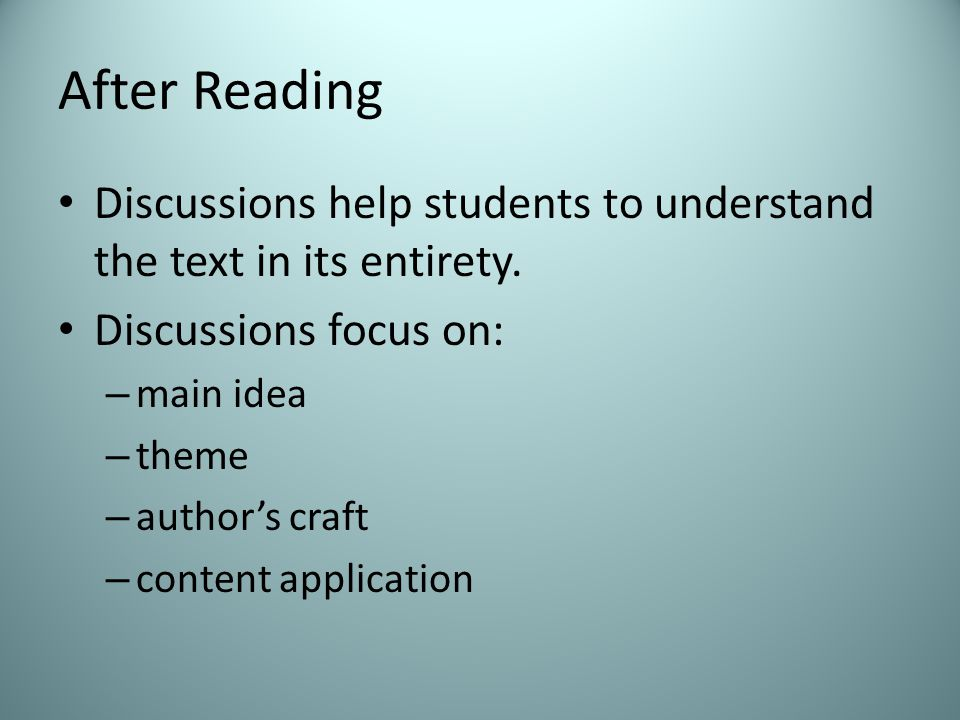 After Reading Discussions help students to understand the text in its entirety.