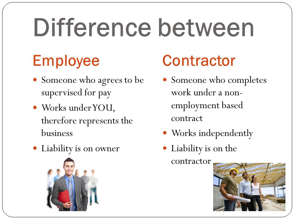Difference between EmployeeContractor Someone who agrees to be supervised for pay Works under YOU, therefore represents the business Liability is on owner Someone who completes work under a non- employment based contract Works independently Liability is on the contractor