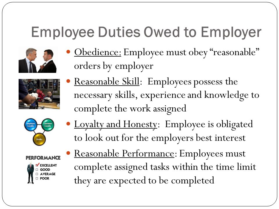 Employee Duties Owed to Employer Obedience: Employee must obey reasonable orders by employer Reasonable Skill: Employees possess the necessary skills, experience and knowledge to complete the work assigned Loyalty and Honesty: Employee is obligated to look out for the employers best interest Reasonable Performance: Employees must complete assigned tasks within the time limit they are expected to be completed