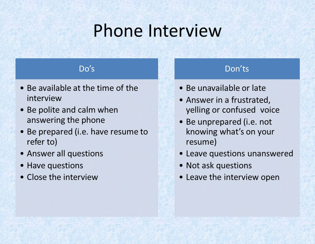 Phone Interview Do's Be available at the time of the interview Be polite and calm when answering the phone Be prepared (i.e.
