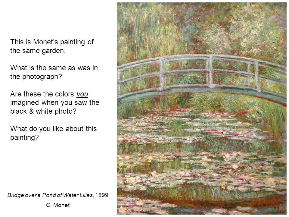 This is Monet's painting of the same garden. What is the same as was in the photograph.