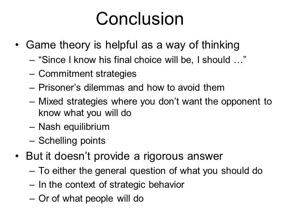 game theory conclusion