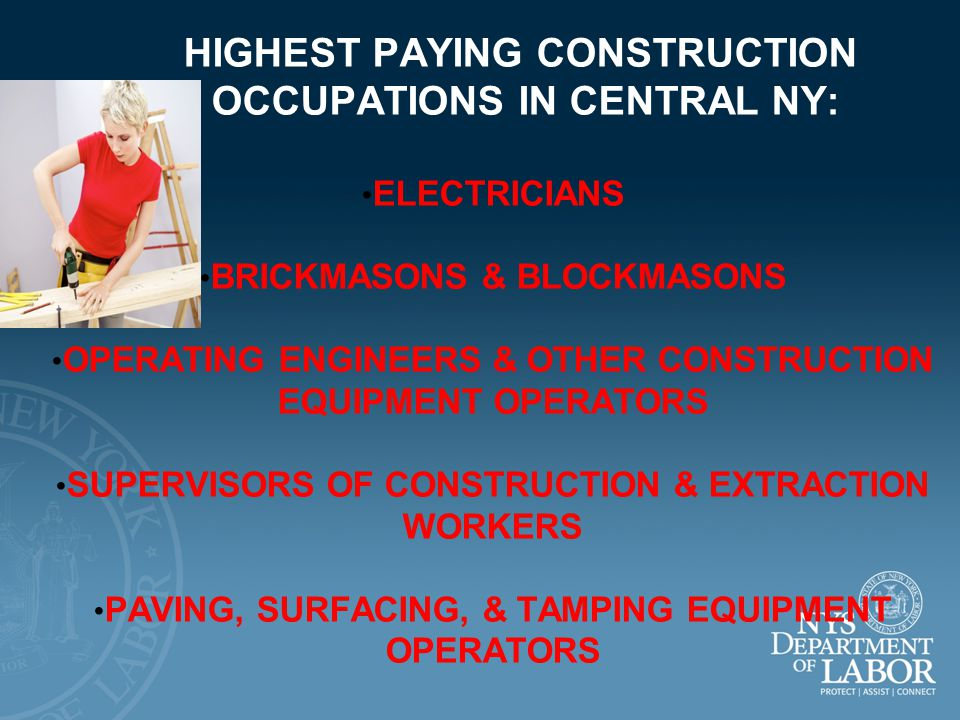 LARGEST CONSTRUCTION OCCUPATIONS IN NY STATE: CARPENTERS CONSTRUCTION LABORERS ELECTRICIANS PLUMBERS, PIPEFITTERS, & STEAMFITTERS FIRST-LINE SUPERVISORS/MANAGERS OF CONSTRUCTION TRADES & EXTRACTION WORKERS CONSTRUCTION MANAGERS