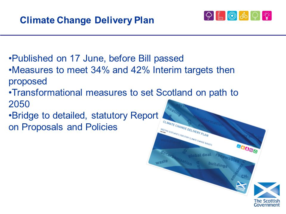 Published on 17 June, before Bill passed Measures to meet 34% and 42% Interim targets then proposed Transformational measures to set Scotland on path to 2050 Bridge to detailed, statutory Report on Proposals and Policies Climate Change Delivery Plan