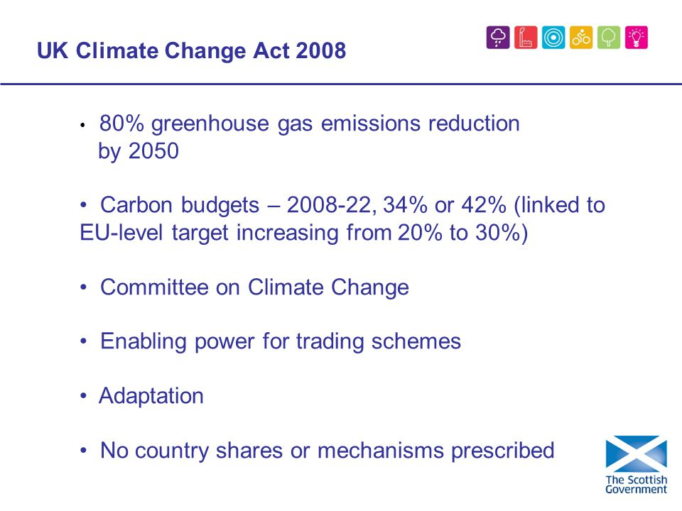 UK Climate Change Act % greenhouse gas emissions reduction by 2050 Carbon budgets – , 34% or 42% (linked to EU-level target increasing from 20% to 30%) Committee on Climate Change Enabling power for trading schemes Adaptation No country shares or mechanisms prescribed