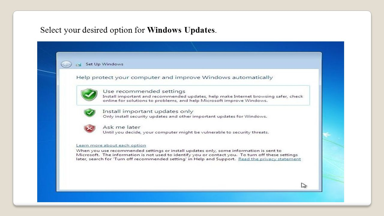 Select your desired option for Windows Updates.