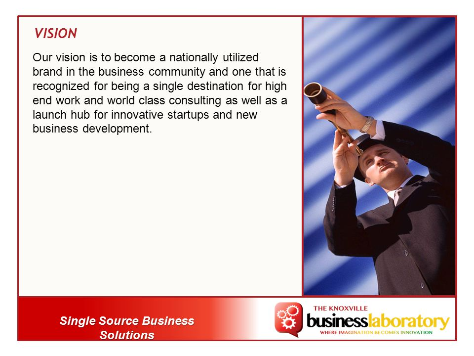 Single Source Business Solutions Our vision is to become a nationally utilized brand in the business community and one that is recognized for being a single destination for high end work and world class consulting as well as a launch hub for innovative startups and new business development.
