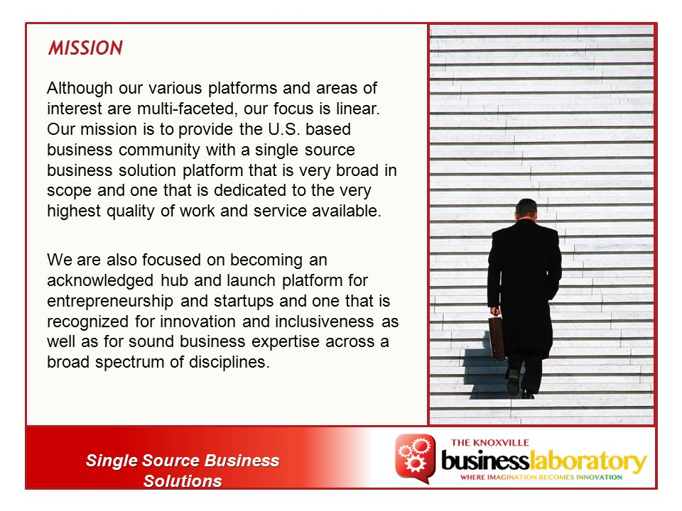 Single Source Business Solutions Although our various platforms and areas of interest are multi-faceted, our focus is linear.
