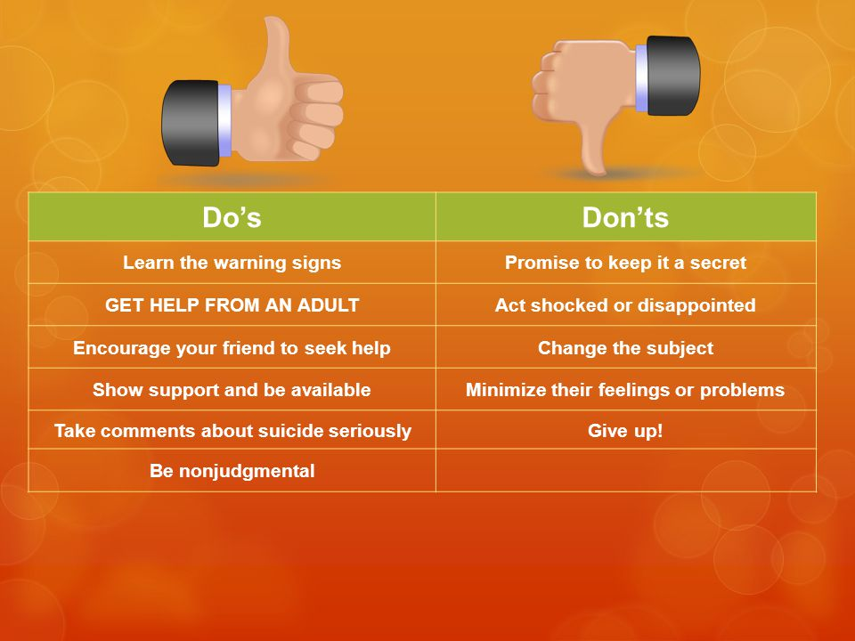 Do'sDon'ts Learn the warning signsPromise to keep it a secret GET HELP FROM AN ADULTAct shocked or disappointed Encourage your friend to seek helpChange the subject Show support and be availableMinimize their feelings or problems Take comments about suicide seriouslyGive up.
