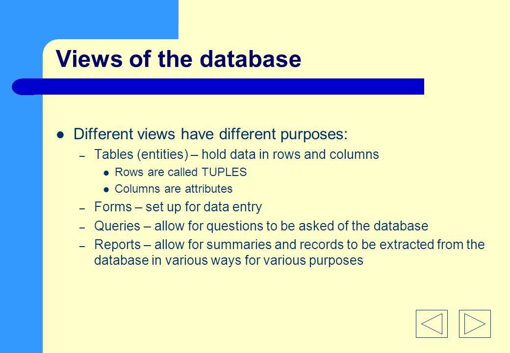 Views of the database Different views have different purposes: – Tables (entities) – hold data in rows and columns Rows are called TUPLES Columns are attributes – Forms – set up for data entry – Queries – allow for questions to be asked of the database – Reports – allow for summaries and records to be extracted from the database in various ways for various purposes